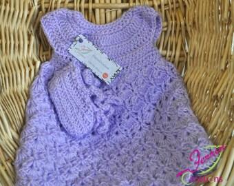 Baby Dress: Purple crochet dress with booties