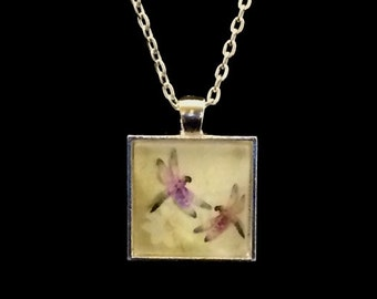 Dual Dragonflies square glass pendant necklace (ACSq7-A8)