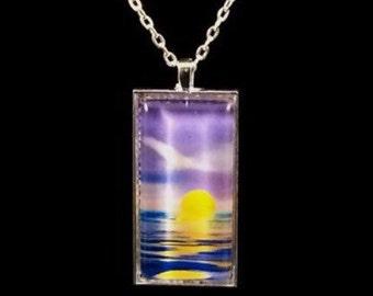 Purple Sunrise Glass Rectangle Pendant Necklace (ACR1-A2)