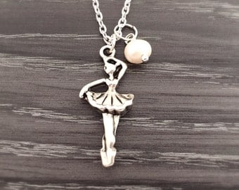 Ballerina Necklace with Pearl, 3D Ballet Dancer Necklace, Ballet Necklace, Ballet Jewelry, Dance Recital, Personalized Dancer Gift