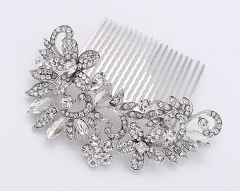Rhinestone Bridal Comb, Crystal Silver Bridal Hair Piece, Statement Wedding Comb, Vintage Wedding Rhinestone Comb, Bride Head Piece