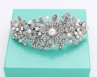Crystal Pearl Bridal Barrette Headpiece Rhinestone Silver Bridal Barrettes Vintage Wedding Hair Clip Accessory Jewelry
