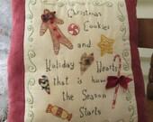 Christmas Treats Decorative Pillow - Primitive Christmas Stitchery
