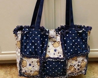 Monkey Rag quilt Diaper Bag with Minky/boy / tote