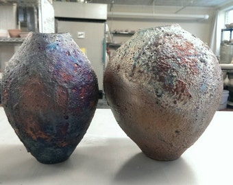 Medium raku wabi-sabi vases