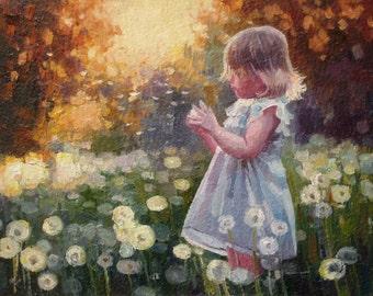 "Painting Oil Kids Room Decor Girl with dandelions Original Art 6""x8"""