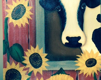 Sunflowers and cow in barn painting