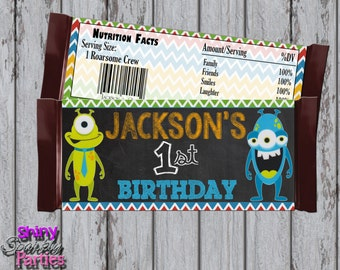 Printable MONSTER CANDY Bar WRAPPERS - Monster Party Favors - Little Monster Chalkboard Candy Wrappers - Monster Bash Candy Bar Wrappers