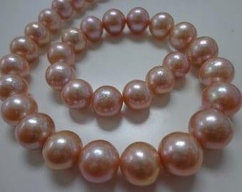 11-14mm Pink Round Nucleated Fresh Water Pearl Necklace Strands