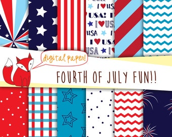 Fourth of July Digital Paper ~ Patriotic Paper Pack ~ American Flag Paper~ Stars and Stripes, Red, White and blue, 4th of July