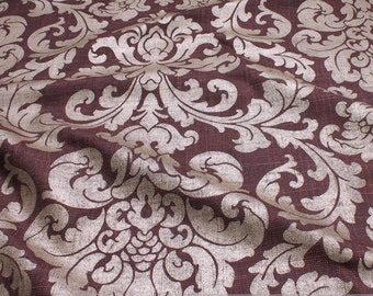 Fabric rayon cotton aubergine ornament platinum upholstery cushion