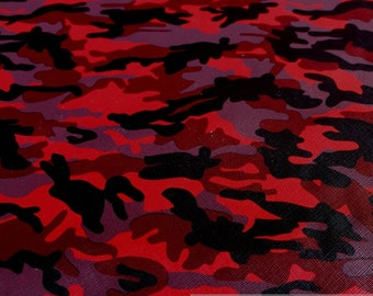 Fabric PVC nappa Camouflage red leatherette