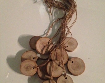 10 Handcrafted Wood Slices.....Wooden Tags.....Rustic Appeal.....Name Tags.....Decorations.....