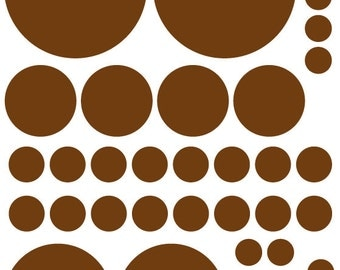 70 Dark Chocolate Brown Vinyl Polka Dots Bedroom Wall Decals Stickers Teen Kids Baby Nursery Dorm Room Removable Custom Made Easy to Install