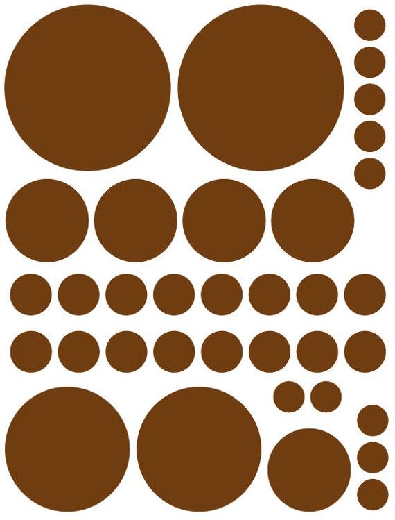 70 Dark Chocolate Brown Vinyl Polka Dots Bedroom Wall Decals Stickers Teen Kids Baby Nursery Dorm Room Removable Custom Made Easy to Install
