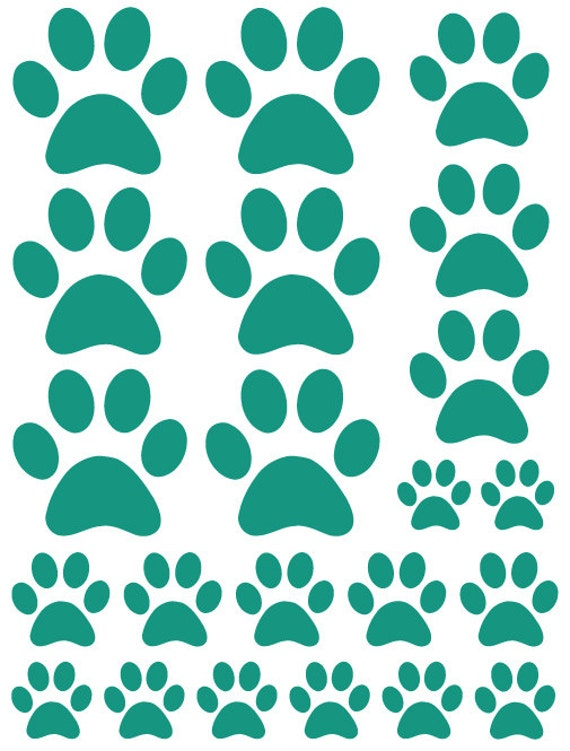 44 Teal Green Paw Prints Vinyl Wall Decals Stickers Bedroom Teen Kids Baby Dorm Room Cat Dog Pet Removable Custom Easy to Install Wall Art