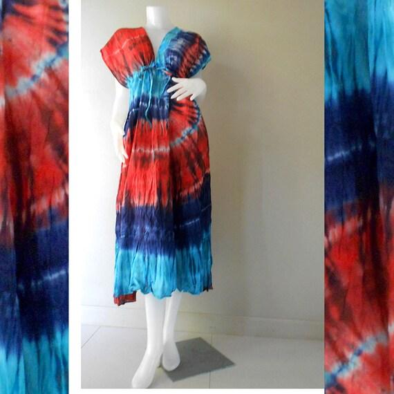 New Tropical Colorful Tie Dye Cotton Boho Hippie V-Neck Long Kimono Women Summer Dress S-L (TD 308)