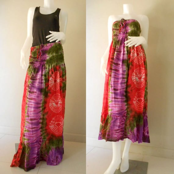 Plus size Sexy Hippie Boho Colorful Tie Dye Cotton Smock Summer Sundress Maxi Comfy Casual Beach Dress Long Skirt S-L (18)