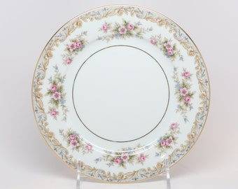 "1950's Noritake, ""Somerset"" Salad Plates, Porcelain, Pinks, Blues, Golden Yellows, Greens Floral Boarders w Gold Trims"