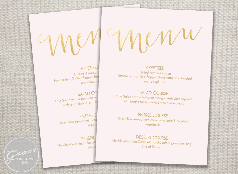 printable menu blush pink and gold slant instant digital. Black Bedroom Furniture Sets. Home Design Ideas