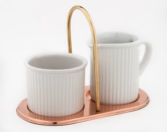 SUGAR and CREAMER SET.  Ceramic Sugar Bowl & Creamer. Copper Caddy w Brass Handle. White Ceramic Sugar Creamer Set.