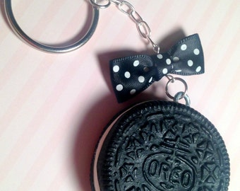 Hand Sculpted Polymer Clay Oreo Cookie/Bow Keychain