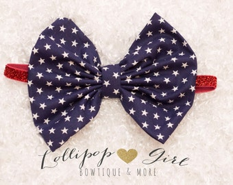 Skinny Stretch USA Bow; Patriotic bow