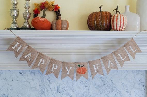 Happy Fall Burlap Banner Fal Banner Fall Decor Fall Photo