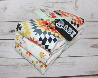 Modern Baby Burp Cloth~ Set of 3 Bright Aztec~ Baby Shower Gift