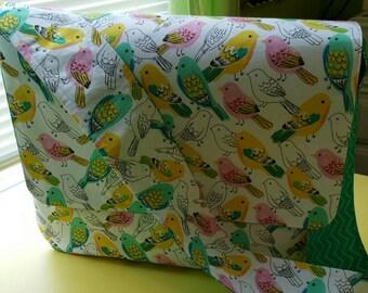 Parakeet and Chevron Fabric Large Messenger Bag