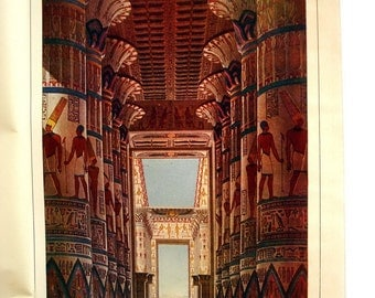 Egyptian Karnak Temple Antique Lithograph Print 1904 print art Hall Columns from 1880s antiquity Egyptology architecture Painting wall Art