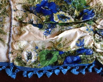 Vintage Sixties Valance blue green floral with blue trim tassels