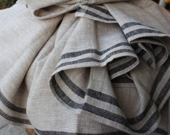 linen blanket,linen bedding,natural eco linen flax striped linen, tablecloths,striped linen, softened linen