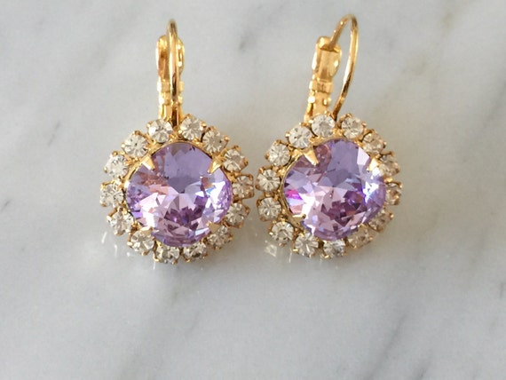 Violet Crystal Bridal, Bridesmaid, Cocktail Earrings