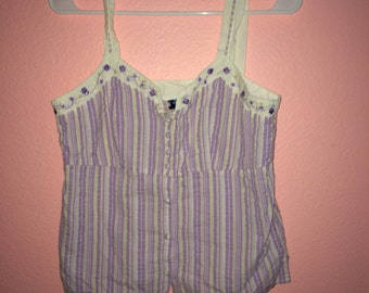 striped tank top woth floral detail