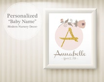 Gold Baby name decor, Baby name Gold art print, Printable Glitter gold baby Name room decor, Custom baby Floral name art, (BabyName A5)