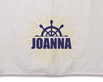 Nautical Beach Towel // Personalized // 30inx60in