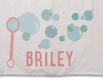 Beach Towel // Personalized Bubbles // 30inx60in