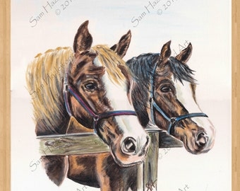 Ponies at the Fence. Original acrylic on stretched box canvas.