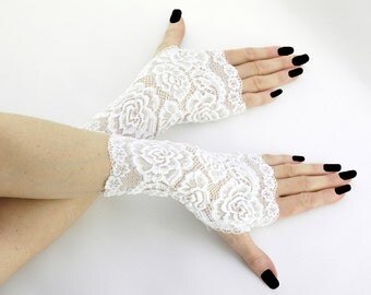 Women's white short fingerless mittens of lace fabric for wedding, womens evening gloves, white lace gloves 0185C