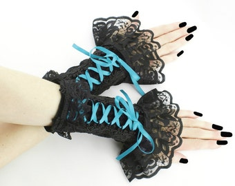 Turquoise fingerless gloves wrist warmers black gothic - burlesque - vintage - bohemian, womens evening gloves,  dancing glove , goth  0300F