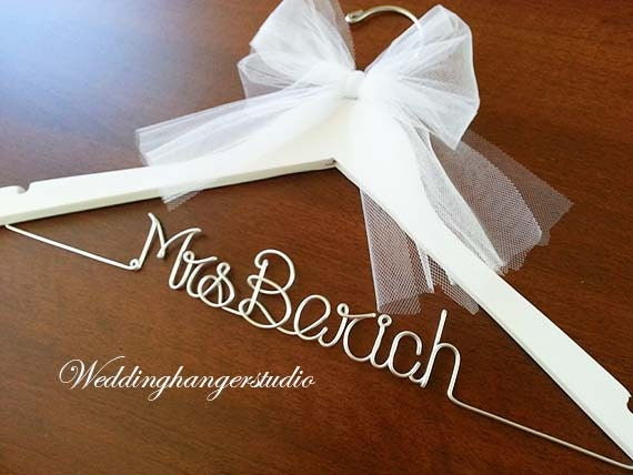 White wedding dress hanger name hanger mrs hanger wedding for Mrs hangers wedding dress