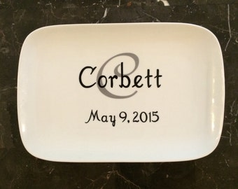 Personalized Platter - Porcelain - Personalized Wedding Gift - Bridal Shower Gift - Decorative Plate - Initial, Name , and Date