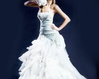 Wedding dress-long train wedding dress-blue wedding dress-custom wedding dress-train wedding dress-unique wedding dress-handmade in Europe