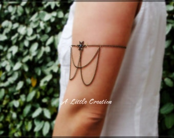 Summer bronze chain armlet slave with vintage flower connector