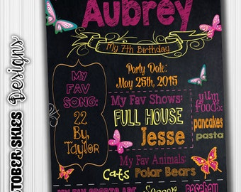 Birthday Chalkboard, Birthday Chalkboard, Birthday Poster, Any Age, Sign, Digital