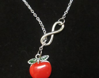 Infinity red apple lariat necklace, teacher friend mother fruits lover necklace.