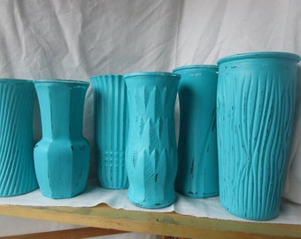 Painted vases, Large vases, Wedding vases, Shower vases, Cottage decor, Turquoise vases, Upcycled vases, Blue vases, Wedding decor, Vase set