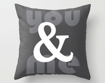 Ampersand pillow, you & me pillow, and symbol, Modern throw pillow, Decorative home decor, Typography accent cushion cover.