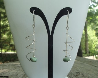 Spiral Sterling Silver & Turquoise Earrings